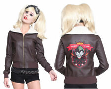 Womens BOMBSHELLS Harley Quinn Suicide Squad Bomber Faux Leather Jacket LARGE