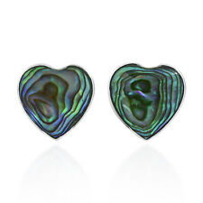 Cute and Shimmering Green Abalone Shell Hearts on Sterling Silver Earrings