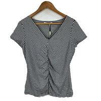 Jane Lamerton Womens Top Size 12 Black White Striped Short Sleeve V-Neck