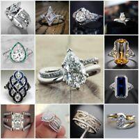 925 Silver Pear White Topaz&Emerald&Sapphire Ring Women Wedding Jewelry Size5-10