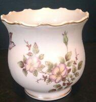 Vintage Lenwile China Ardalt Japan Vase Planter Gold Purple Birds Flowers T55