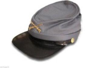 Civil War Confederate Rebel Soldier Costume Hat Calvary Gray Kepi Can Southern