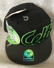 47 Brand Celtics Hardwood NBA Big Script SnapBack Hat Black Green Graphic