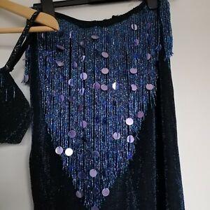 Blue BELLY DANCE COSTUME skirt & bra  ideal  BRAZILIAN CARNIVAL size 10 - 12
