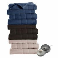 Sunbeam Quilted Fleece Electric Heated Warming Blanket Twin Newport Blue