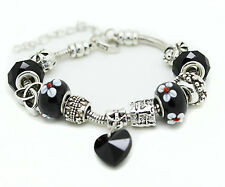 Black Murano Glass Bracelet Heart Crystal Brass Charm Bangle Infinity Bead Women