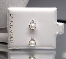 14k White Gold Genuine Elegant Pearl Ball Screw Back Stud Earrings