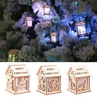 Fj- Natale Albero Ornamento da Appendere in Legno Casa Luce LED Festa Decor Fadd