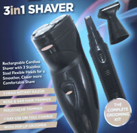 Men's Electric 3in1 Shaver-Rechargeable Beard Hair Nose Trimmer Speed Razor