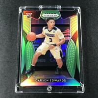 CARSEN EDWARDS 2019 PANINI PRIZM DRAFT #34 LIME GREEN REFRACTOR /125 ROOKIE RC