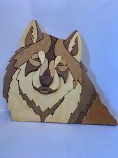 Wolf Head Wild Animal Intarsia Wood Wall Art Decor Plaque