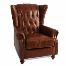 MarquessLife 100%Genunie Leather Handmade Tufted High Wing Back Sofa Armchair