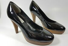 Dune womens black patent leather heels uk 4 eu 37
