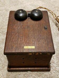 Antique Western Electric Oak Wood Telephone Phone Dual Bell Wall Ringer Box
