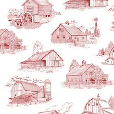 Homestead Red/White Barn Toile Fabric Material