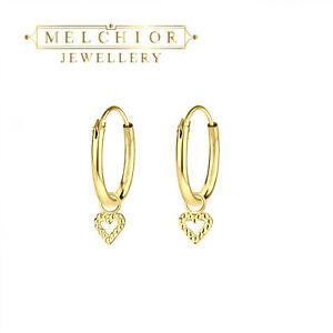 Childrens Girls Sterling Silver Gold Plating Heart Charm Hoop Earrings Gift Box