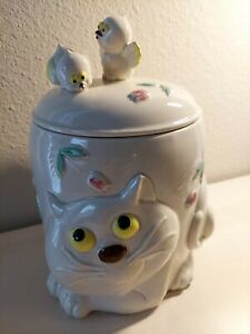 Vintage 1960's Japan Cat Cookie Jar with Chicks on the Lid Easter Spring Candy