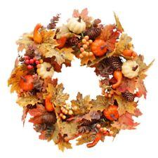 Autumn Theme Door Wreath Artificial Pumpkin Berries Pine Cone Maple Manmade New