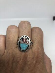 Vintage Silver White Bronze Size 10.25 Southwest Men's Bear Paw Stone Inlay Ring
