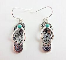 Flip Flop Earrings Drop Dangle Silver Base Metal Blue Stone Fish Hook Fasteners