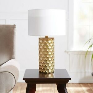 """DECOR THERAPY The Hive Gilded Silverwood Table Lamp with Shade 