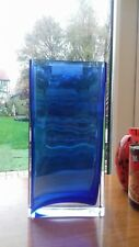 STYLISH POLISH HAND MADE MILOMAX BLUE AND CLEAR VASE 10 inches TALL
