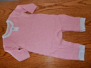 New 0-3M OLD NAVY Mauve Pink Thermal Unionsuit Romper Snap Sleeper Outfit