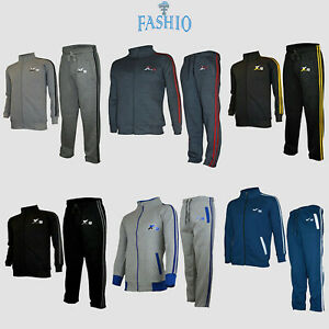 Mens Athletic Full Zip Fleece Tracksuit Gym Jogging Sweatsuit