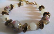 """Fiorato Murano Italy Venetian Glass Beaded Bracelet - Goldtone - 7 1/2"""