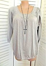 EXPRESSION - Grey Floral Print Peasant Top Plus Size 26 - New with tags