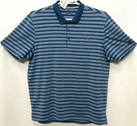 Mens Adidas Large Blue Striped Short Sleeve Polo Rugby Golf Shirt