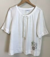 Hot Cotton White 100% Linen Tunic Top Blouse Boho Peasant L Embroidery
