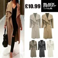 Womens Waterfall Belted Oversized Italian Drape Long Trench Coat Ladies Blazer