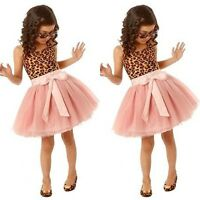 Baby Toddlers Kids Girls Sleeveless Bow Tutu Dress Party Princess Tulle Dress