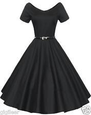 Gigileer Dame 50er Swing Kleid Retro Vintage Rockabilly Cocktail Clubwear Partei