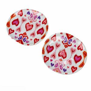 Williams Sonoma Amour Heart Ikat Valentine's Day Salad Side Dessert Plates Set 2