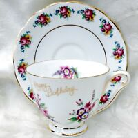 Vintage Princess Anne & Colclough China England Birthday Footed Tea Cup & Saucer