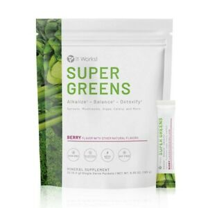 It Works Super Greens on the Go Berry Flavor 30 Packets New Free Shipping