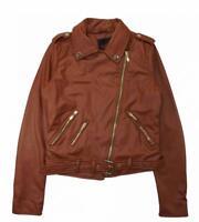 Yoki Woman's Cognac Sherpa Lined Faux Leather Moto Jacket Size S M L XL 1X 2X 3X