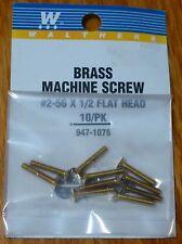 "Walthers #947-1076 / 2-56 Brass Flat Head Machine Screws -- 1/2 x .086"" pkg(10)"