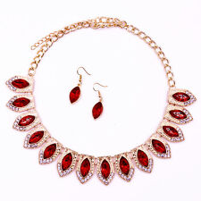 Red Gem Crystal Rhinestone Necklace Pendant Earrings Set Prom Party Jewelry UK