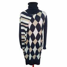 ANTONIO MARRAS Women Wool Dress Size L Womens Argyle Dress Oversize Black Plaid