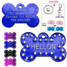 Glitter Rhinestone Dog Personalized Tags Bone Engraved ID Collar Tags Free Gifts