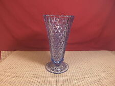 "Vintage Indiana Glass Diamond Point Regal Blue 8"" Flower Vase"