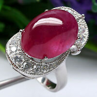 NATURAL 13 X 17 mm. CABOCHON RED RUBY & WHITE CZ RING 925 STERLING SILVER