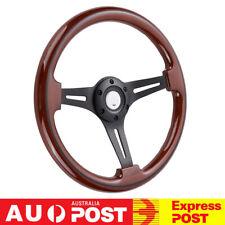 14''/350mm Walnut Wood Grain Classic Steering Wheel Matte Black Spoke 2'' Deep