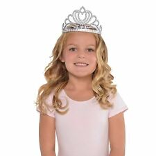 Kids Girls Silver Sequin Princess Queen Tiara Crown Fairytale Childs Accessory
