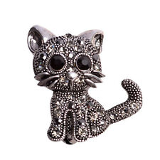 Vintage Lovely Kitten Brooch with Clear Crystal Perfect Gift cute cat fashion