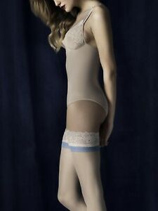 Innocent stay up stockings 20 den by Fiore, blue band & lace pattern narrow welt