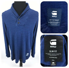 G-STAR RAW Strevor Ezra Shawl-Collar Long Sleeve T-Shirt Men's Slim XXL 2XL Blue